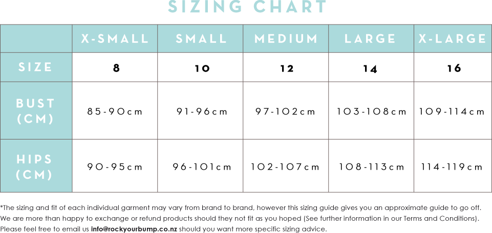Rock Your Bump Sizing Chart