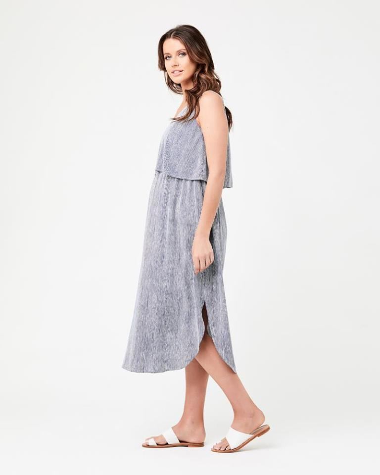Stella Stripe Nursing Dress Indigo / White