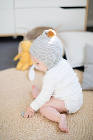 Pom Pom Pixie Hat (Grey and Butterscotch)