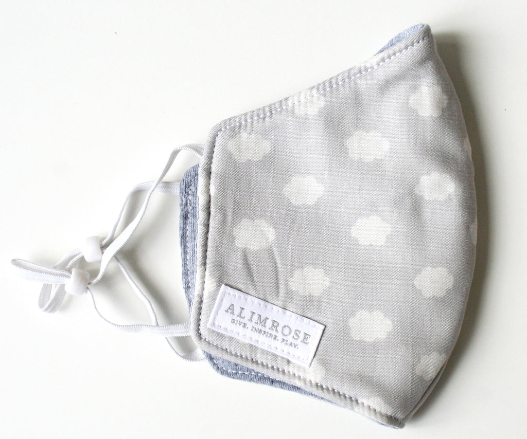 CHILD - 3 Layer Face Mask - Grey Cloud