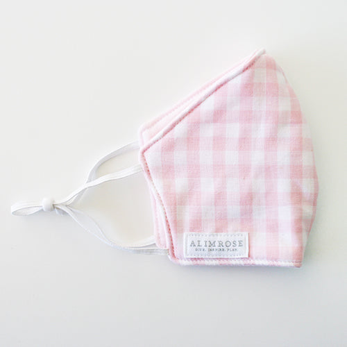 CHILD 3 Layer Face Mask - Gingham Pink