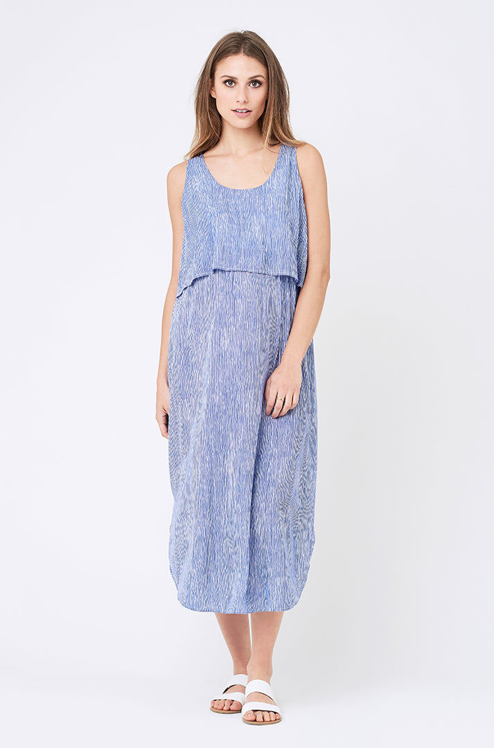 Stella Stripe Nursing Dress Royal / White