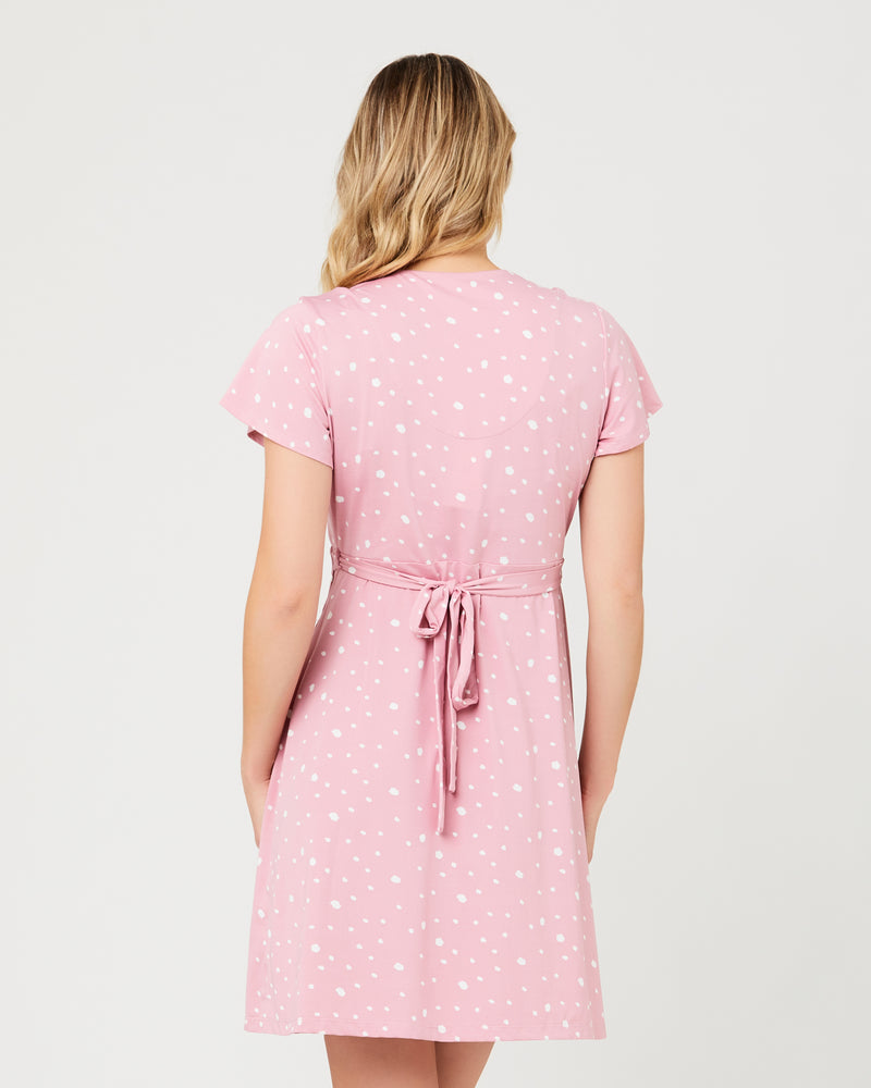 Liv Wrap Dress Dusty Pink / White