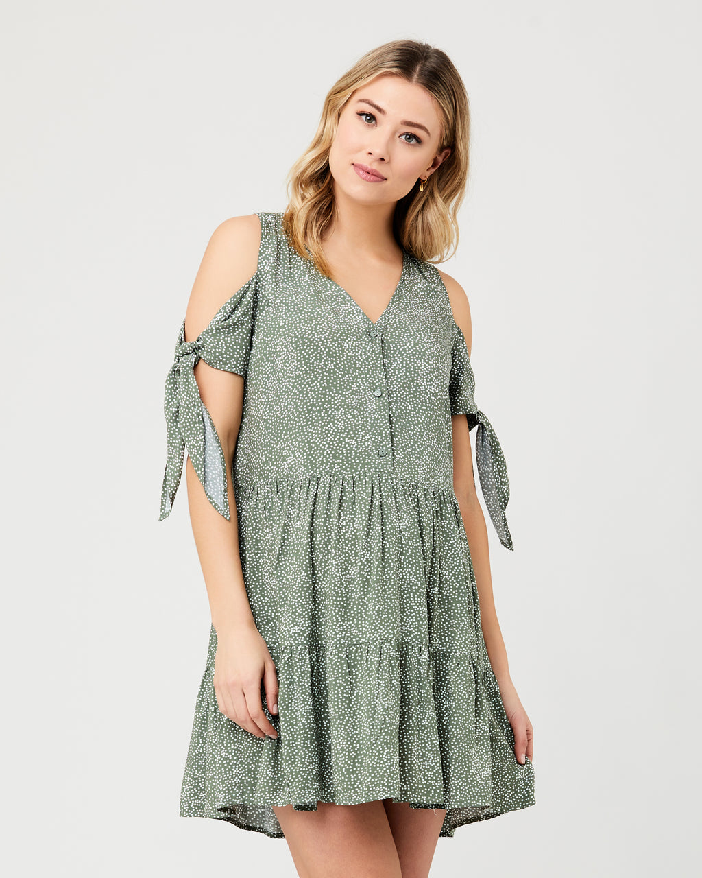 Lottie Tie Sleeve Dress Khaki / White