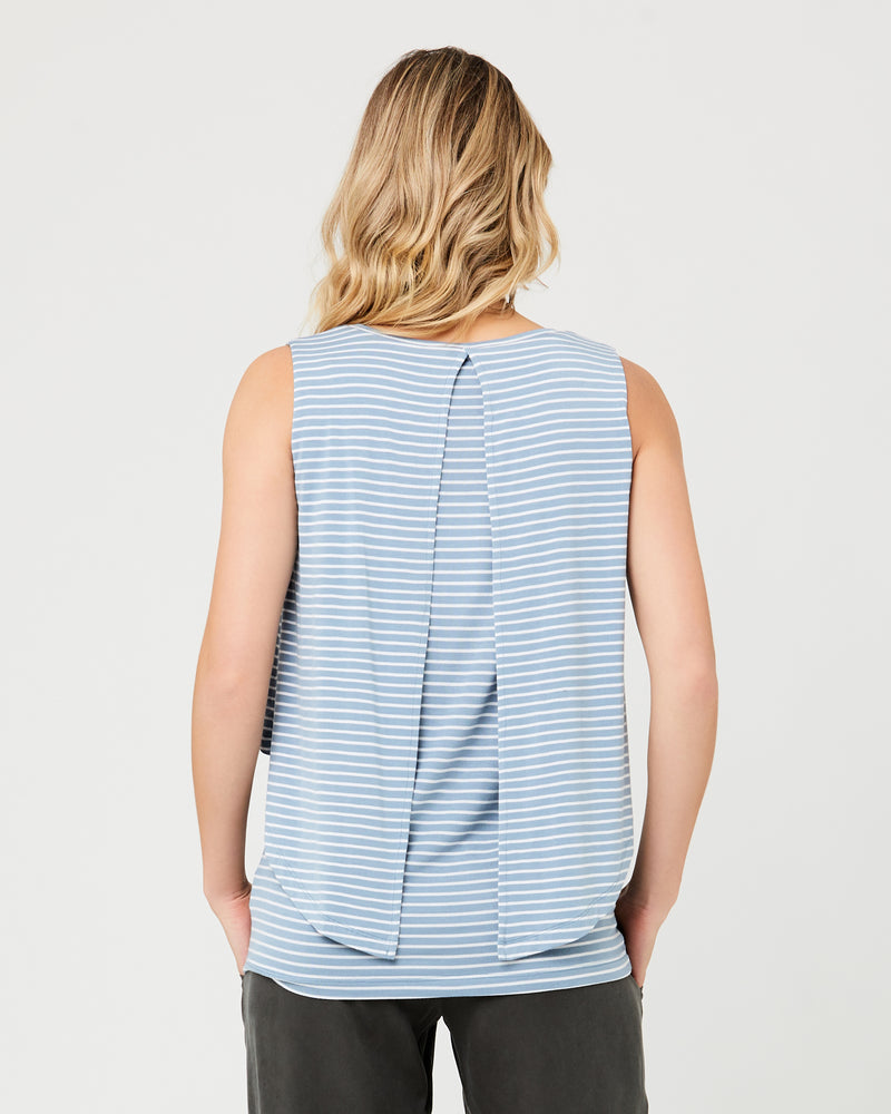 Stripe Swing Back Nursing Tank Light Petrol / White