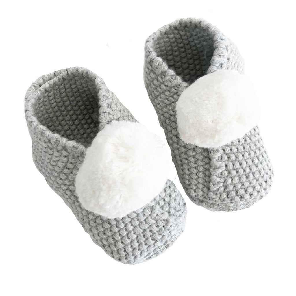 Baby Pom Pom Slippers (Grey and Ivory)