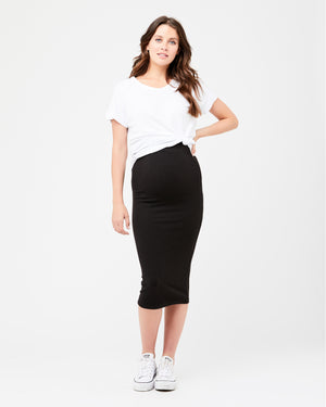 Ribbed Knit Pencil Skirt Black