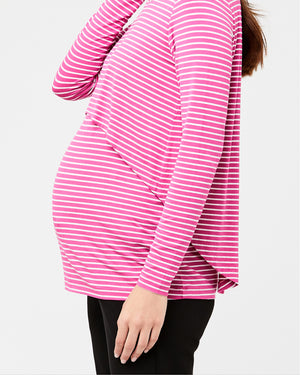Stripe Swing Back Nursing Top Fuchsia / White