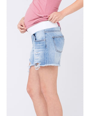Distressed Denim Short Pale Blue