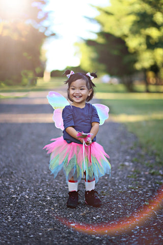 neon rainbow skirt with wings and wand