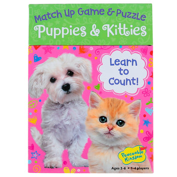 match up game and puzzle - unicorns, dinosaur, puppies and kitties, fire rescue