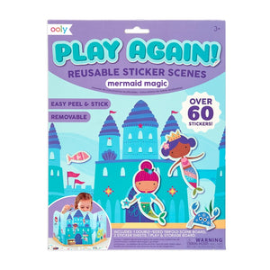 play again! reusable sticker scenes: mermaid magic