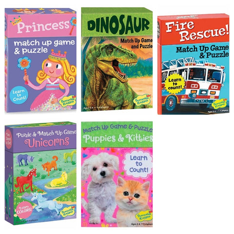 match up game and puzzle - unicorns, dinosaur, puppies and kitties, fire rescue, ocean