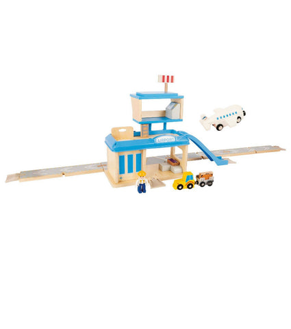 wooden airport with accessories