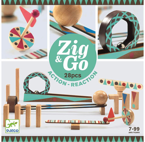 zig and go - wooden domino race construction set