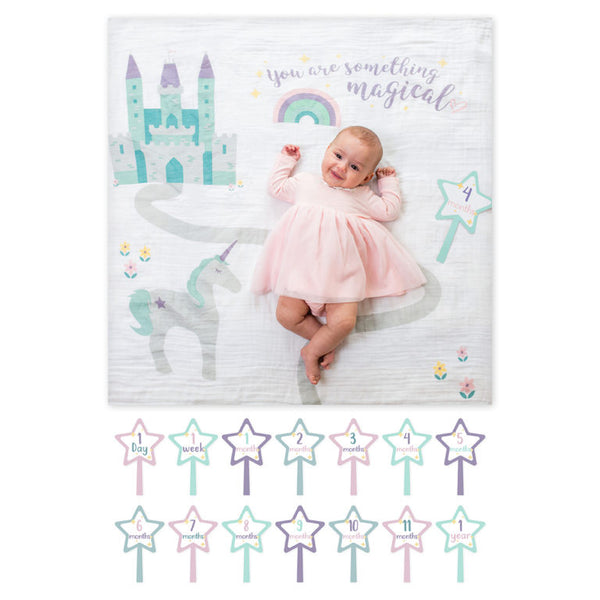 baby's first year blanket and cards set