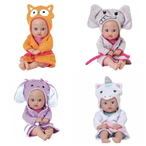 baby bath time tot doll - owl, unicorn, bunny, elephant