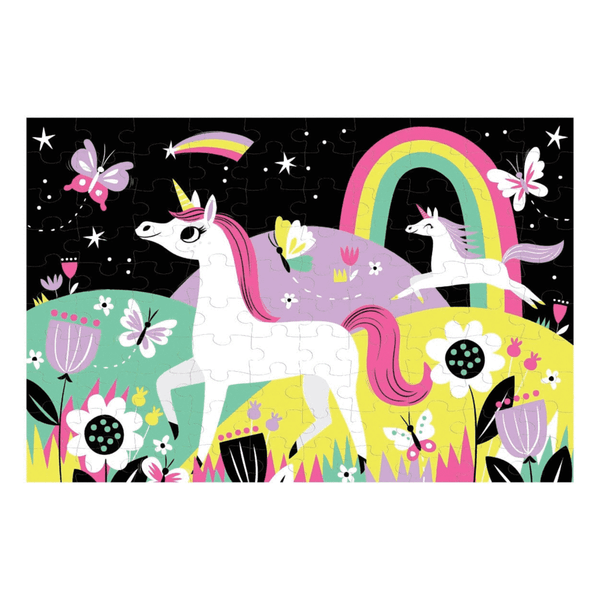 unicorns - glow in the dark 100 piece puzzle