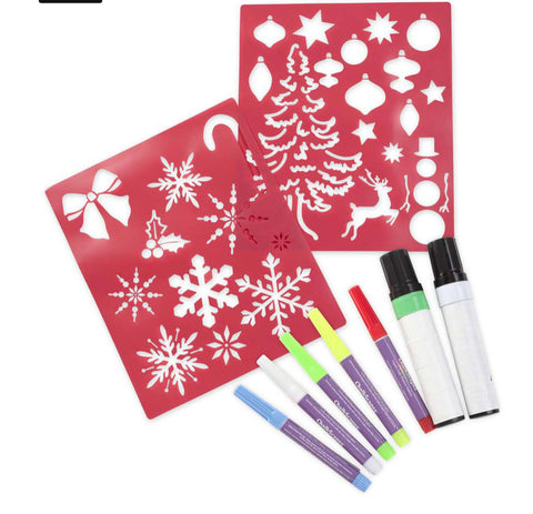 holiday stencil and window marker kit
