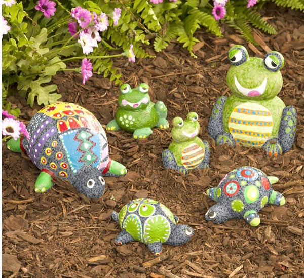 paint your own rock pets - turtles and frogs
