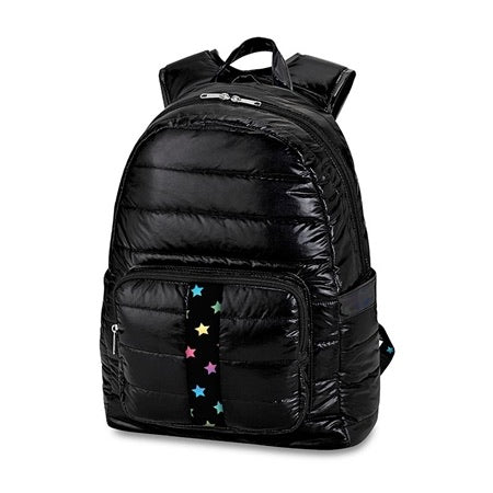 black puffer backpack with scatter star straps