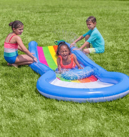 inflatable rainbow misted water slide with splash pool