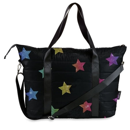 multi glitter star puffer tote bag
