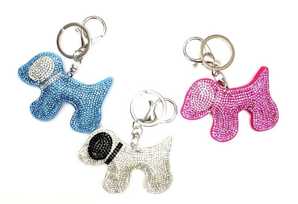 rhinestone keychain - dog, unicorn, bear