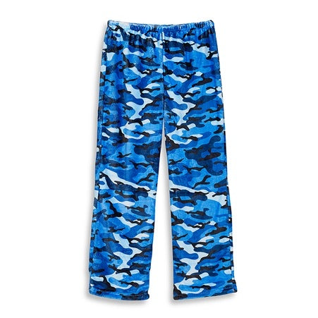 blue camo fuzzie pants