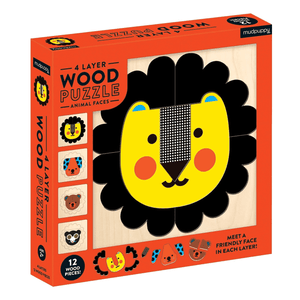 wood puzzle-animal faces