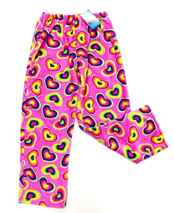 rainbow hearts fuzzie pants