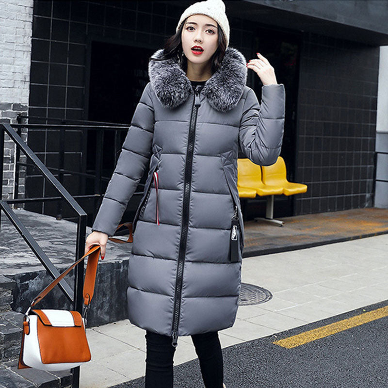 Winter Hooded Thicken Down Coat Women Long Warm Slim Down Jackets Vogue Letter Long Sleeve Zipper Outwear Ladies Faux Fur Collar