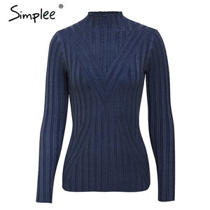 Simplee Knitted jumper sweater women autumn winter Long sleeve top turtleneck female sweater ladies bestmatch pullover jumpers