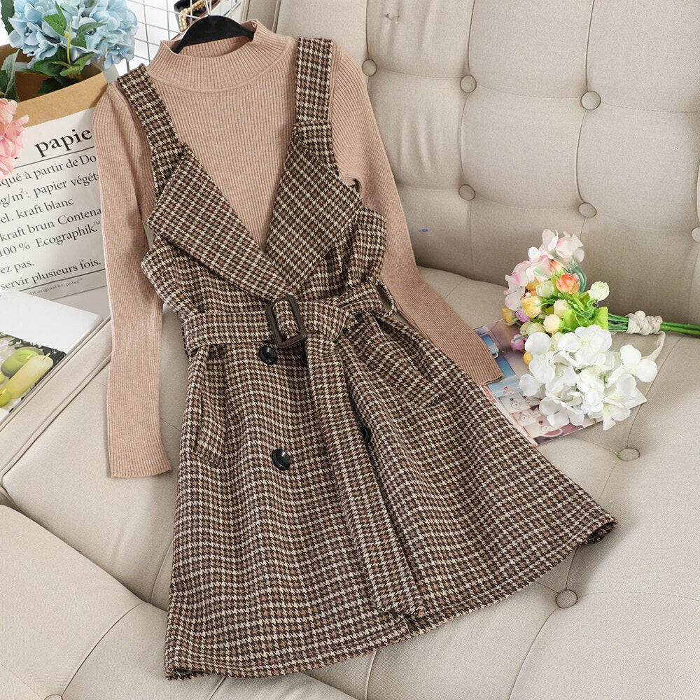 Elegant Woolen Straps Dress Set Office Lady Autumn Solid High Collar Thin Sweater + Fashion Camis Midi Dresses Matching Set