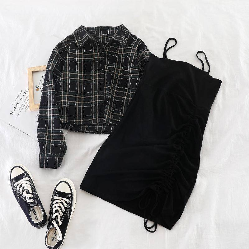 2019 New Ins female two-piece suit early autumn plaid short shirt jacket + solid suspender skirt dress