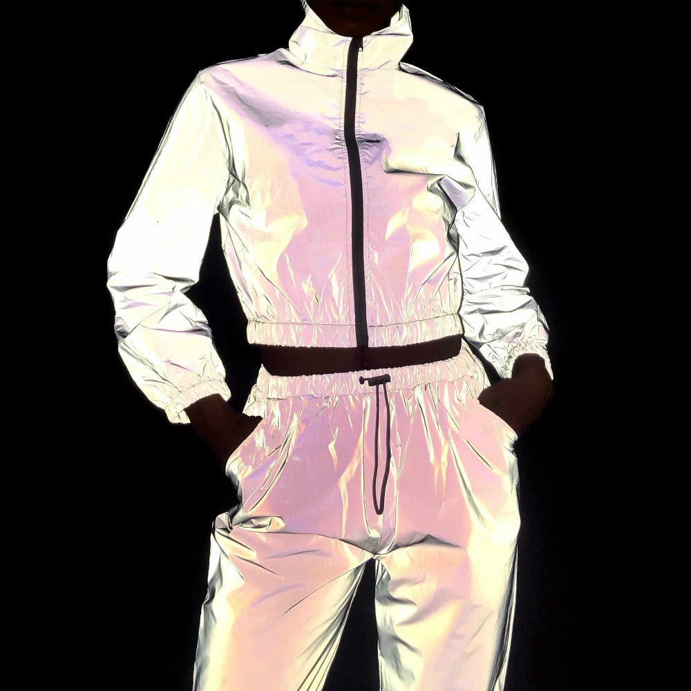 Women Tracksuit 2 Piece Set Hip Hop Reflective Crop Top Pants Fashion Female Loose Zipper Jacket Coat Matching Sets Plus Size