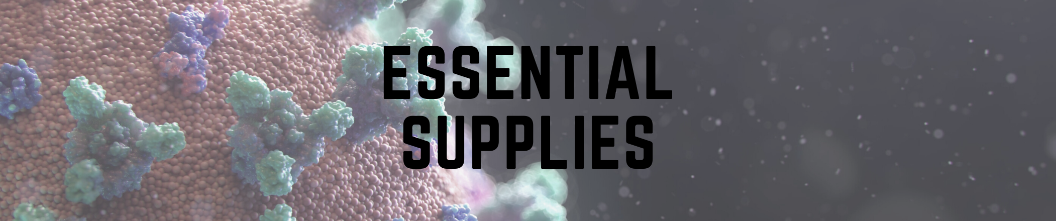 essential supplies text with an image background