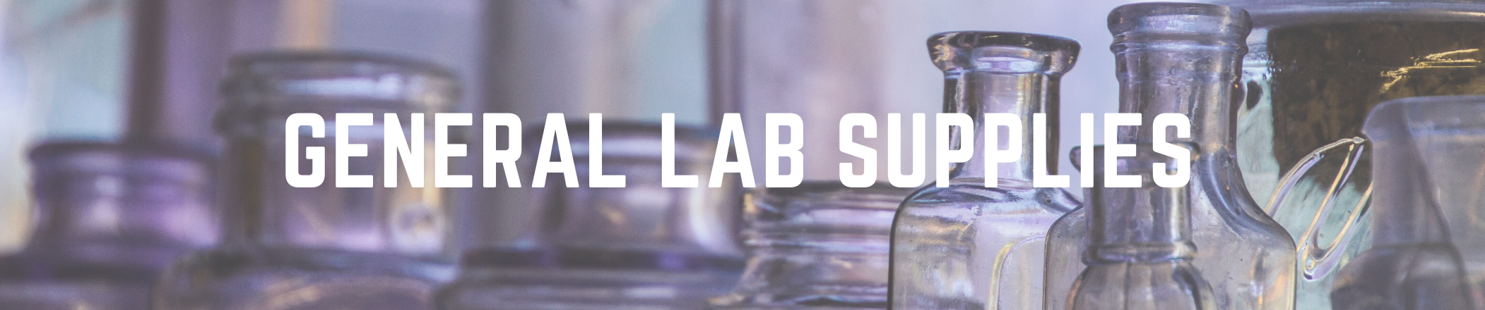 General Lab Supplies text with image background