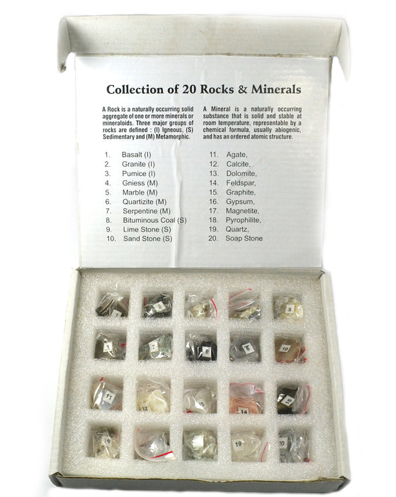 Set of 10 Rocks and 10 Minerals