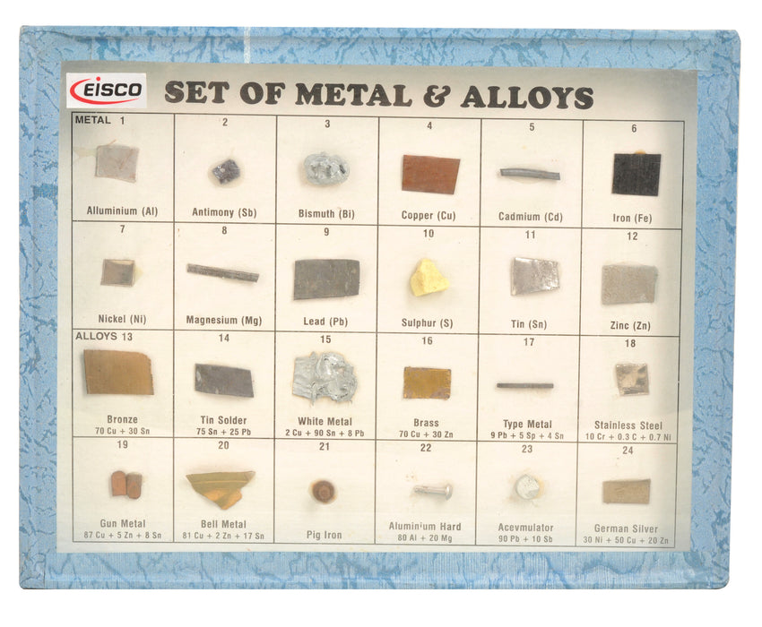 Set of 24 Metal & Alloys, Wooden Case