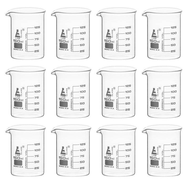 150mL Beaker, Borosilicate Glass, 125mL Graduations - Set of 12