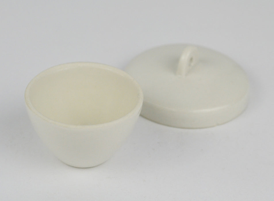 Eisco Labs Low Form Porcelain Crucible, 20 mL, with lid