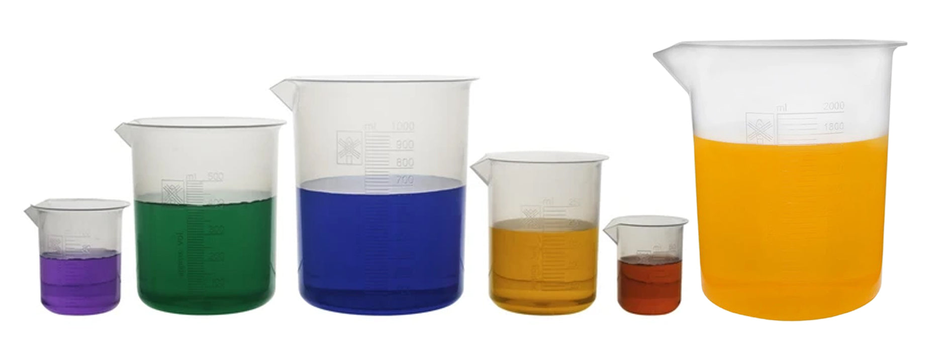 6 Piece Beaker Set, Polypropylene - 50ml, 100ml, 250ml, 500ml, 1000ml & 2000ml - Raised Graduations - With Spout