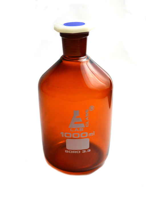 Bottle Reagent, Amber color, narrow mouth with acid proof polypropylene stopper 1000ml., socket size 29/32