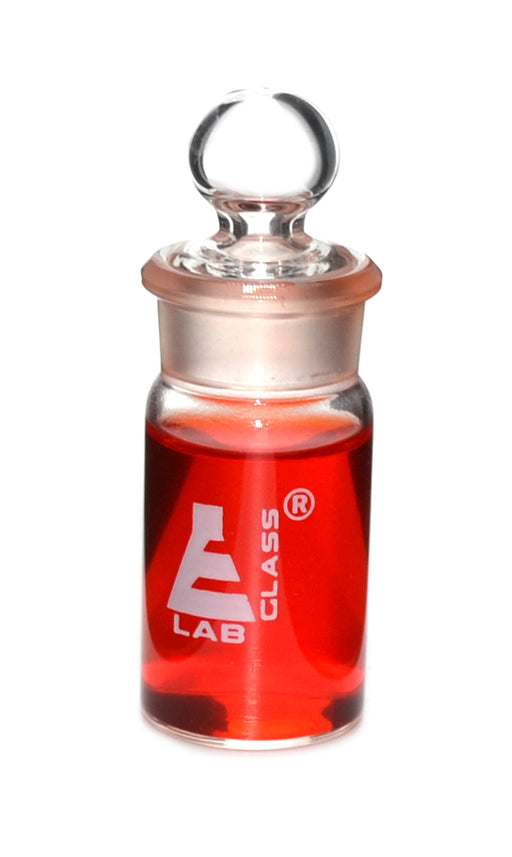 Weighing bottle-Tall form, borosilicate glass with interchangeable ground stopper, cap. 15ml, OD 25mm, height 50mm