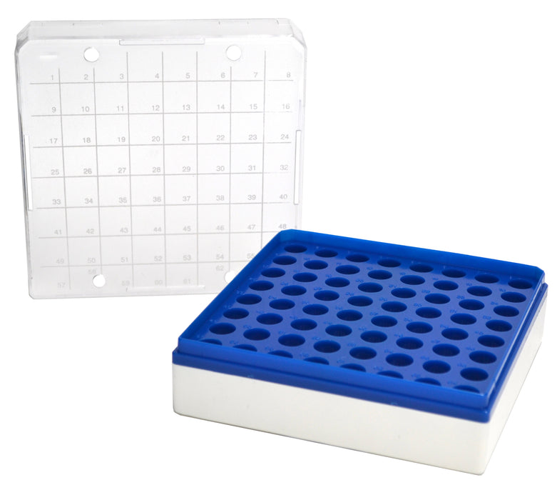 MCT Box, Polycarbonate & Autoclavable, cap. 1.5ml, 64 holes