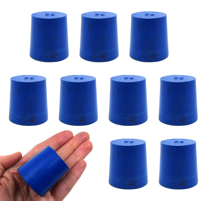 Neoprene Stopper Solid - Blue, Size: 33mm Bottom, 38mm Top, 38mm Length - Pack of 10