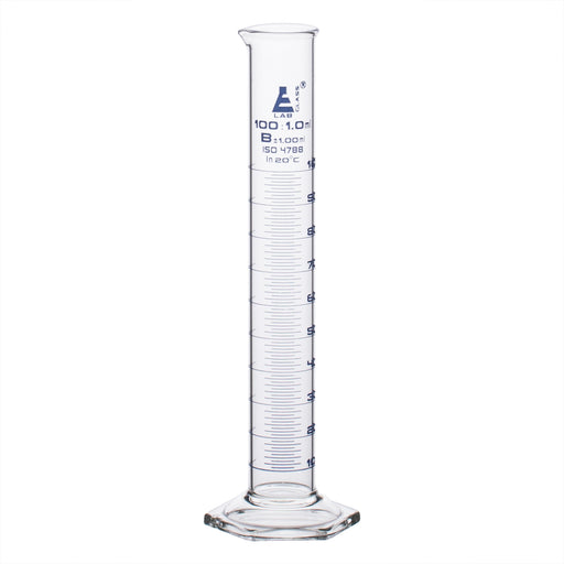 Cylinder Measuring Graduated, cap. 100ml., class 'B', Hex. base with spout, borosilicate glass