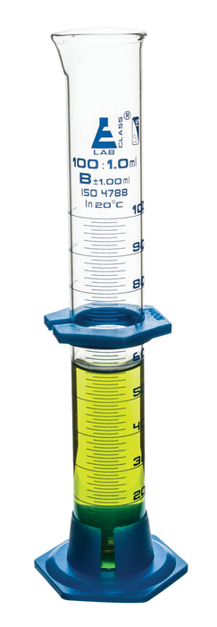 Cylinder Measuring Graduated, cap. 100ml., class 'B', detachable plastic hex. base with spout and protection collar, borosilicate glass