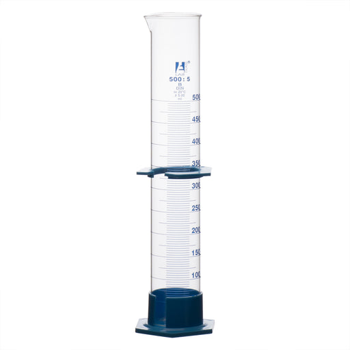 Cylinder Measuring Graduated, cap. 500ml., class 'B', detachable plastic hex. base with spout and protection collar, borosilicate glass